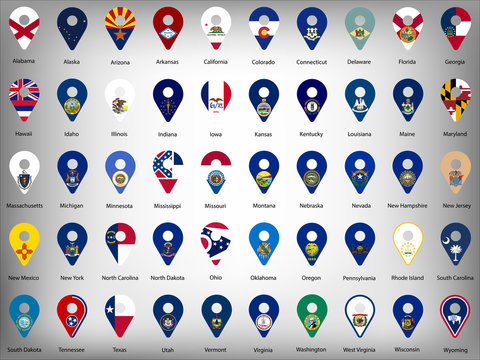 USA American fifty states  flags - alphabetical order with name.  Set of geolocation signs like flags of states USA.  United States of America. Geolocation signs for your web site design, logo, app, U