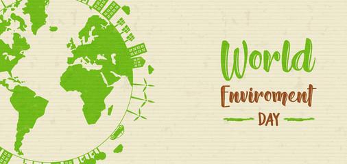 World Environment banner of green earth globe Wall mural