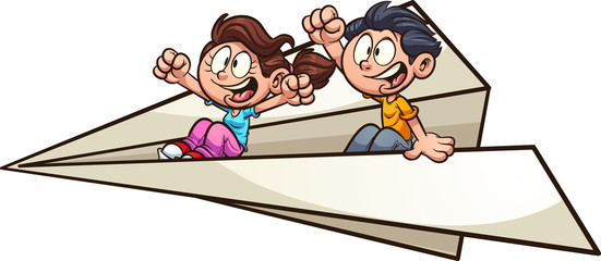 Cartoon kids flying on a giant paper plane clip art. Vector illustration with simple gradients. All in a single layer.
