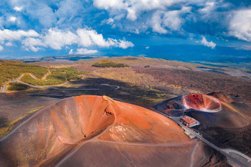 Extinct crater of volcano Etna Sicily, Italy. Aerial photo Fototapete