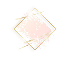 Gold rhombus frame with pastel nude pink texture, shadow, golden brush strokes isolated on white background. Geometric rectangular shape border in golden foil for cosmetics, beauty, makeup template