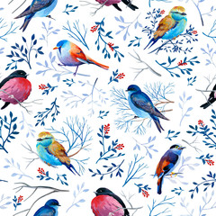 Gouahe seamless pattern with bright birds on branches with leaves