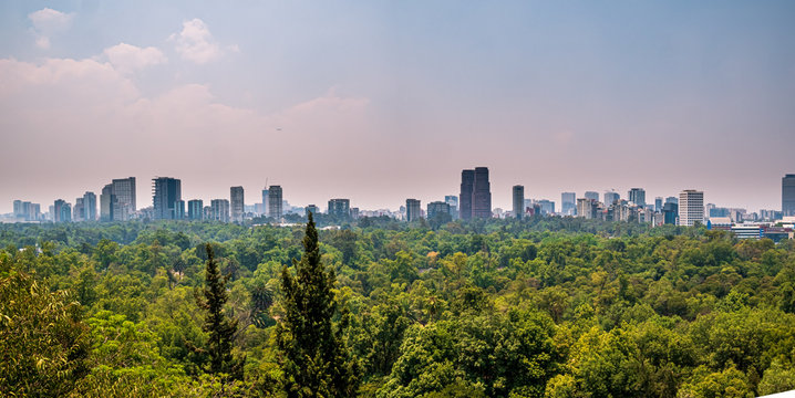 View across Mexico City Skyline from Castle Chapultepec with the daily smog air condition