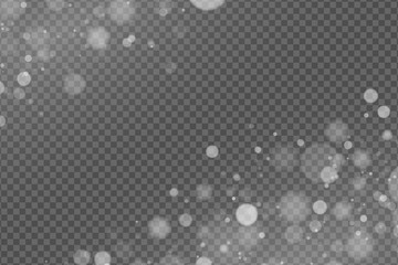 Wall Mural - Light effect of white glares bokeh isolated on transparent background. Bright glow. Realistic glitters. Random blurry spots. Vector illustration