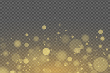 Wall Mural - Light effect of golden glares bokeh isolated on transparent background. Bright glow. Golden glitters. Random blurry spots. Vector illustration