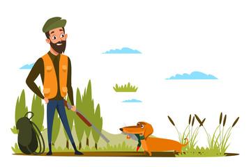 Duck hunting hobby flat vector illustration