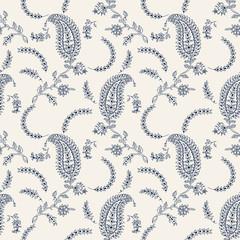 Indigo dye seamless paisley floral pattern. Traditional wood block printed  oriental ethnic motifs of India, Uttar Pradesh, navy blue on ecru background.