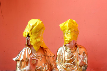New Buddhist sculptures are seen covered at Tam Son pagoda in Ho Chi Minh city
