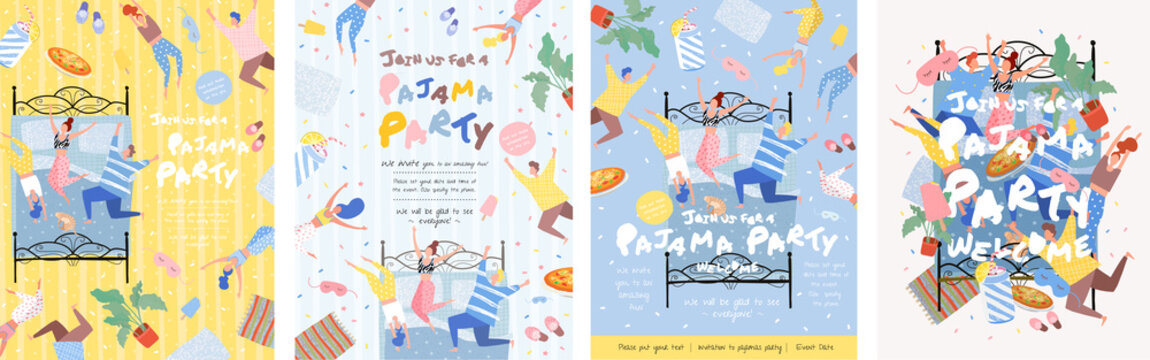 Pajama party! Vector poster, cover or banner for a fun event. Painted illustration of people in pajamas on the bed in the bedroom, party invitation.