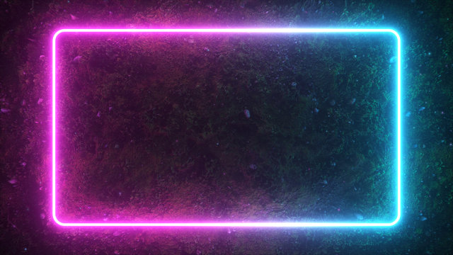 Rectangular neon shimmering luminous form on the background of a dirt forest surface. The spectrum of modern ultraviolet fluorescent light. 3d illustration