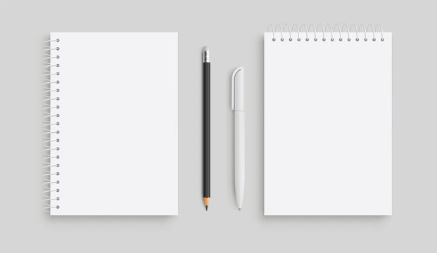 Realistic vector notebook and white pancil, pen. Front view. - stock vector.