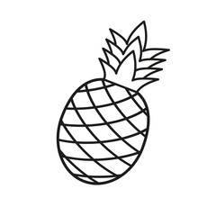 illustration of pineapple with straw on white background