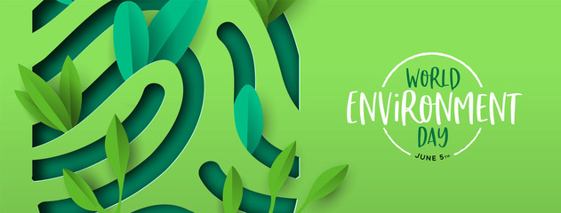 Environment Day banner of green cutout fingerprint Fotoväggar