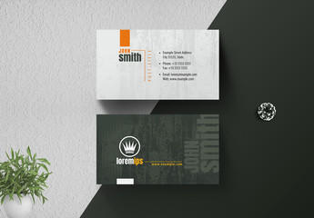 Green and Gray Business Card with Textured Background