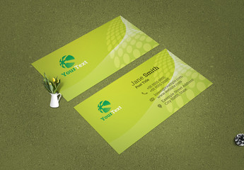 Green Business Card with Geometric Elements