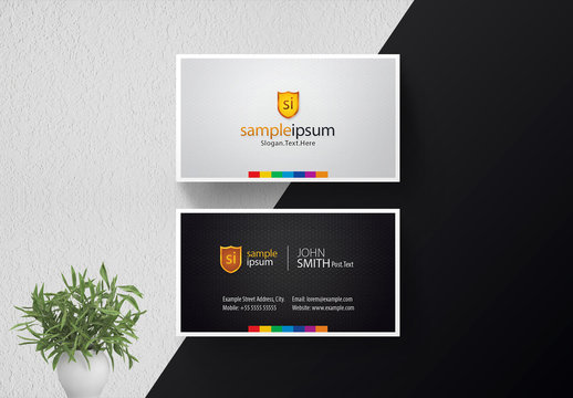 Black and Gray Business Card with Colorful Accents and Shield Icon