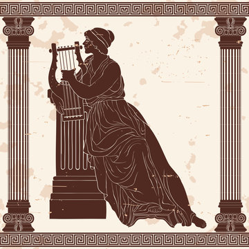 An ancient Greek woman sits with a harp and plays music.