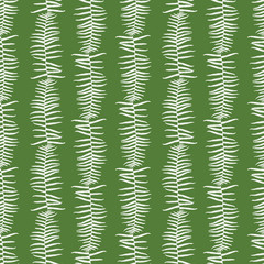 Vector green seamless pattern with fern leaves vertical stripes. Suitable for textile, gift wrap and wallpaper.