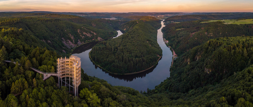 The Saar Loop at the viewpoint Cloef at Orscholz near Mettlach in Germany.