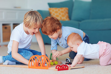 cute kids, siblings playing toys together on the carpet at home