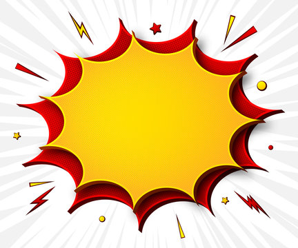 Comics background. Cartoon poster in pop art style with yellow-red speech bubbles with halftone and sound effects. Funny colorful banner with place for text on white backdrop with radial stripes