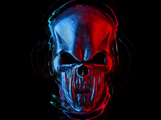 Angry red and blue demon skull with huge lower teeth