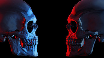 Blue and red dark skulls facing each other