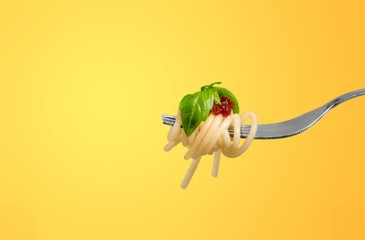 Fork with just spaghetti around it on backgrouund Wall mural