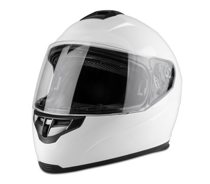 White motorcycle carbon integral crash helmet isolated white background. motorsport car kart racing transportation safety concept