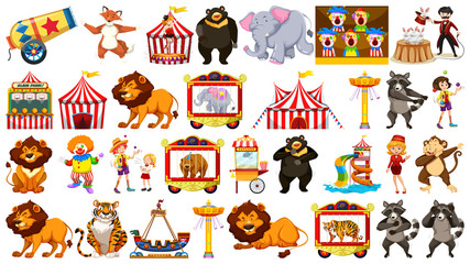 Set of circus object