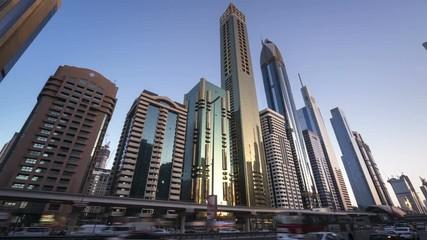 Fotomurales - hyperlapse, Dubai Sheikh Zayed road, UAE
