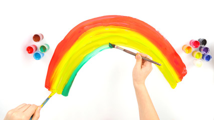 child's hand draws a rainbow on a white background