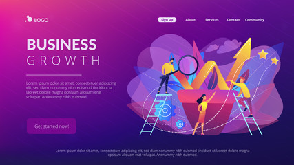 Business team work with growth chart in flower pot. Sustainable development and business growth, evolution and progress concept on white background. Website vibrant violet landing web page template.