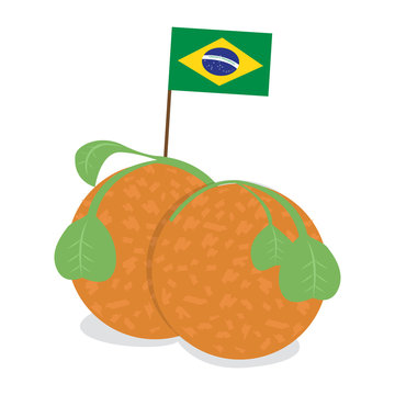 Isolated acarajes with a flag of Brazil. Brazilian fast food - Vector