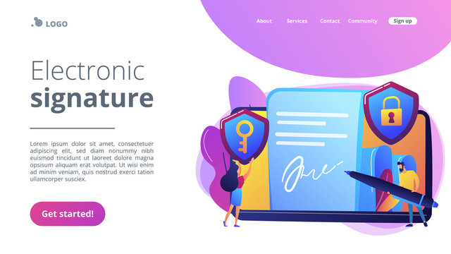 Businessman putting electronic signature on document, security shields. Electronic signature, e-signature template, e-sign consent agreement concept. Website vibrant violet landing web page template.