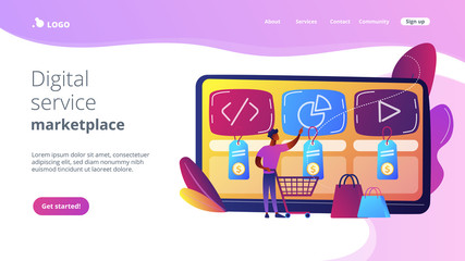 Customer with shopping cart buying digital service online. Digital service marketplace, ready digital solution, online marketplace framework concept. Website vibrant violet landing web page template.
