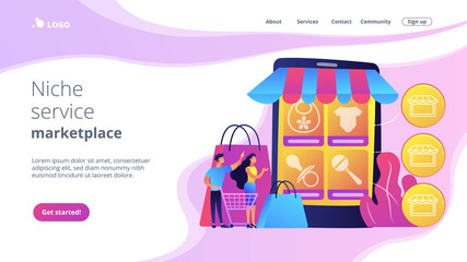 Tiny people customers buy babies goods online from smartphone. Niche service marketplace, innovative online retail, particular goods e-trade concept. Website vibrant violet landing web page template.