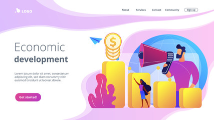 Economist with megaphone, economic growth column and market productivity chart. Economic development, world economy ranking, market economy concept. Website vibrant violet landing web page template.