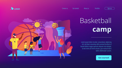 Coach teaching and kids practicing basketball in summer camp, tiny people. Basketball camp, NBA academy, achieve basketball goals concept. Website homepage landing web page template.