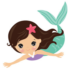 Pretty mermaid vector cartoon illustration