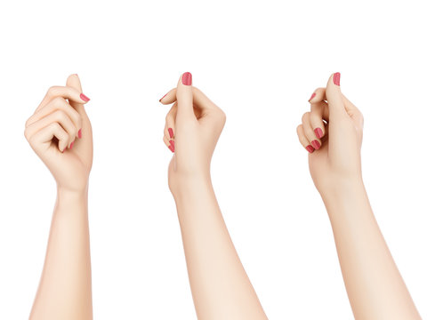 Holding hands isolated on white. Showing something Female hand gesture.  3d rendering.