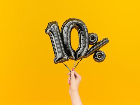 Ten percent symbol discount. 10 % sale banner black flying foil balloons on yellow. 3d rendering.