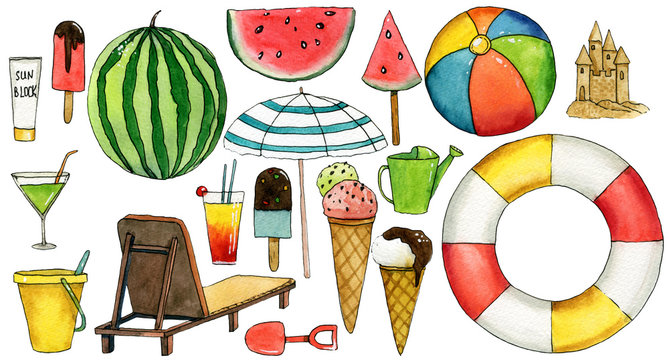 Set of travel  hand drawn watercolor elements with umbrella, watermelon, ice cream, ball, lifebuoy, chaise-longue, bucket, cocktail, sand castle.