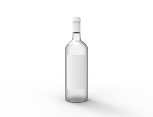3D rendering of a glass bottle isolated on white background