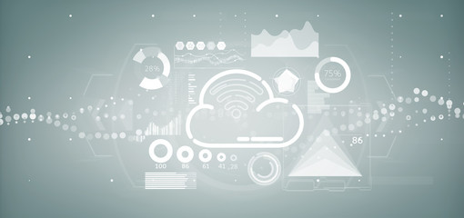 Cloud and wifi concept with icon, stats and data 3d rendering
