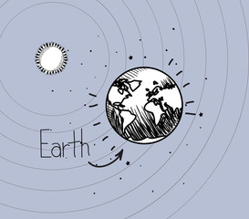 Earth planet and sun draw of solar system design