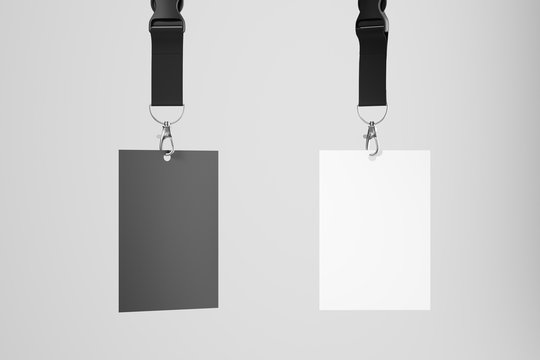 Black and white blank ID card hanging on ribbons on a white background. Mock up. 3d rendering