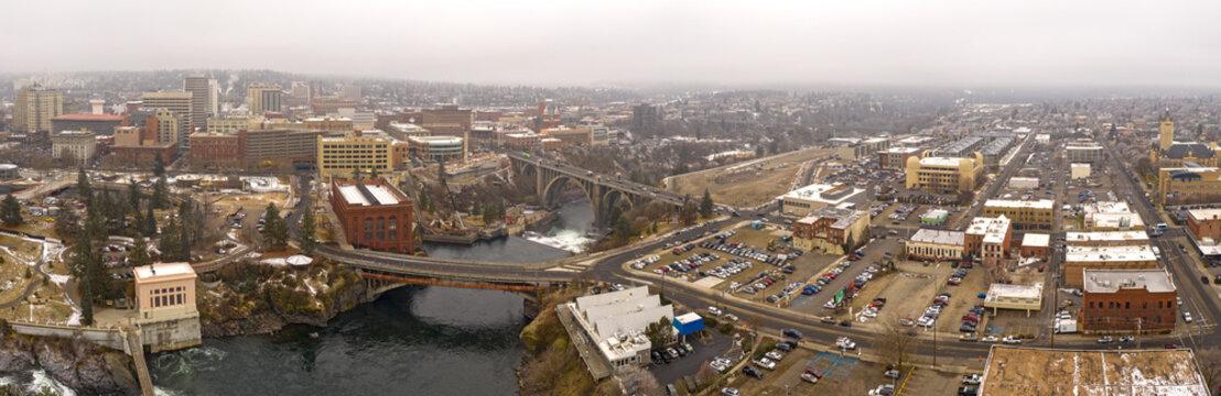 Spokane River and City Skyline Panoramic Aerial View Washington/USA