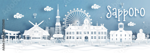 Fototapete Panorama view of Sapporo city skyline with world famous landmarks of Japan in paper cut style vector illustration.