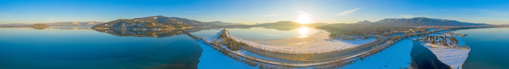 Sandpoint Idaho 360 View Waterfront at Sunset Winter Snowy Sun Panoramic Landscape